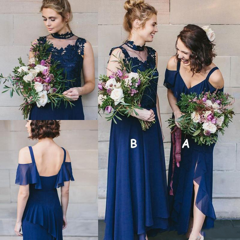 Two Style Long   Bridesmaid     Dresses   Bohemian Cheap Chiffon Sexy Straps Slit Side Beach Maid Of Honor Gowns Junior Prom   Dress
