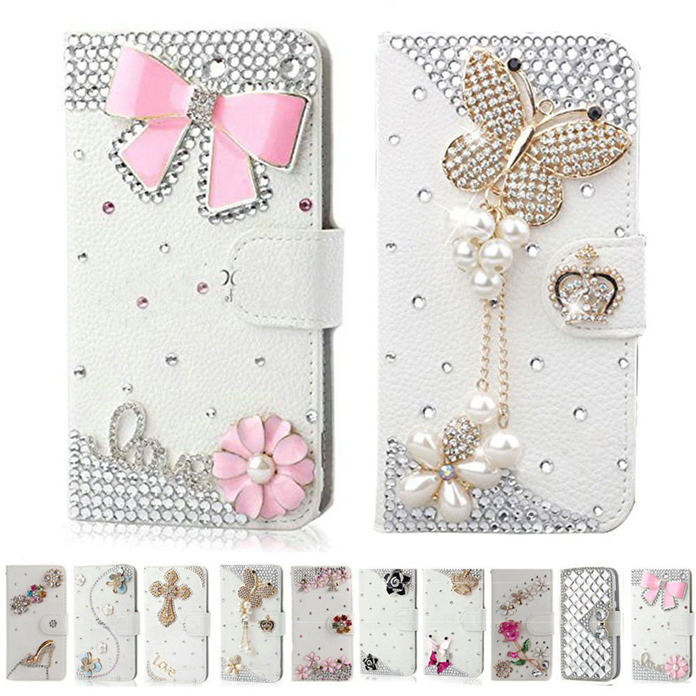 Handmade Bling Diamond Rhinestone PU Leather Filp Cover <font><b>Wallet</b></font> <font><b>Case</b></font> for Samsung S8 S7edge S9 for <font><b>iphone</b></font> X <font><b>5s</b></font> 6 6s 7 8 plus image