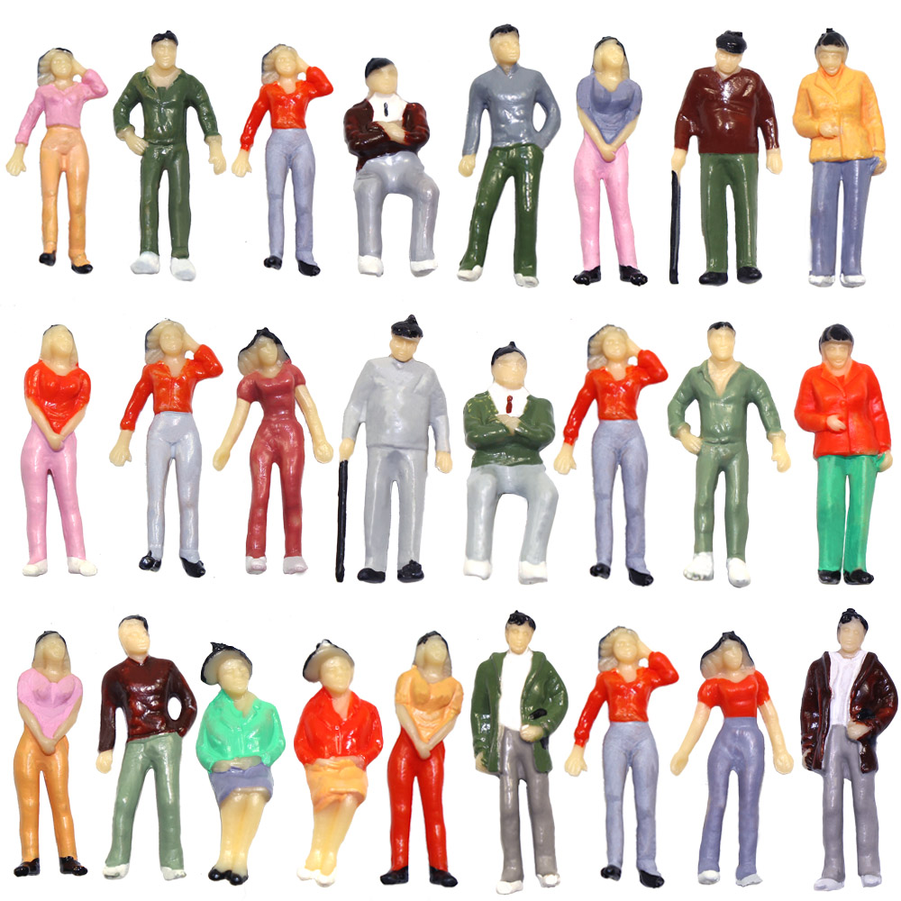 P4307 20pcs Model Trains 1:43 Scale O Scale Painted Standing Figures People