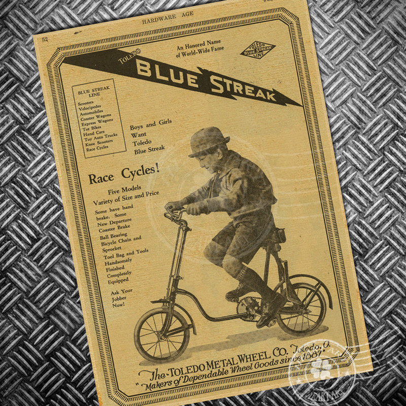Vintage Classic bicycle poster bike retro wall art sticker Old Print ...
