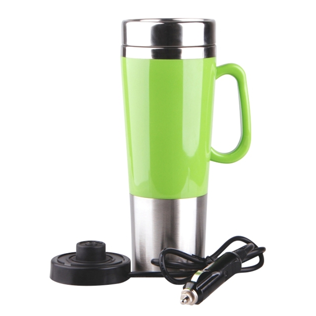 450ml Stainless Steel Vehicle Mounted Electric Heating Mug Drinkware Car Cigarette Lighter Ports Boil Water
