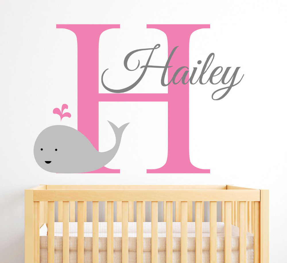 From the window to the wall whale - Personalized Name Wall Decal Cute Smily Whale Wall Stickers For Kids Room Girls Name Wall