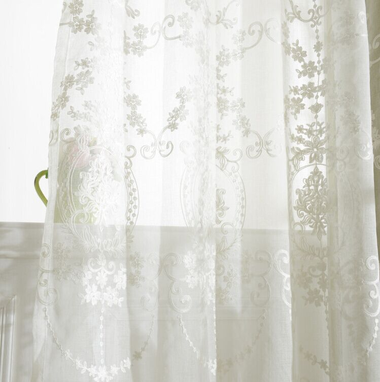 tulle curtains luxury embroidered white sheer curtain voile panel living room window treatment balcony transparent door curtainin curtains from home