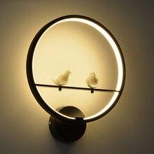 Nordic resin bird wall lamp living room aisle bedside bedroom simple modern aluminum LED Black/White