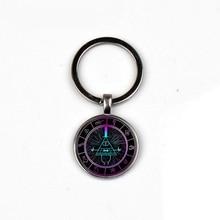 HOT! Anime Gravity Falls Keychain Bill Password Wheel Mystery Mode Glass Dome Pendant Keyring Cosplay kids Men Women love Gift