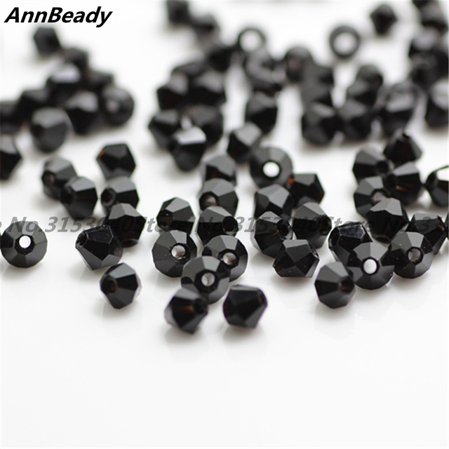 100 pcs Negro Cor 4mm Contas de Cristal Bicone Contas de Vidro Soltos Spacer Beads DIY Fazer Jóias Áustria Contas de Cristal