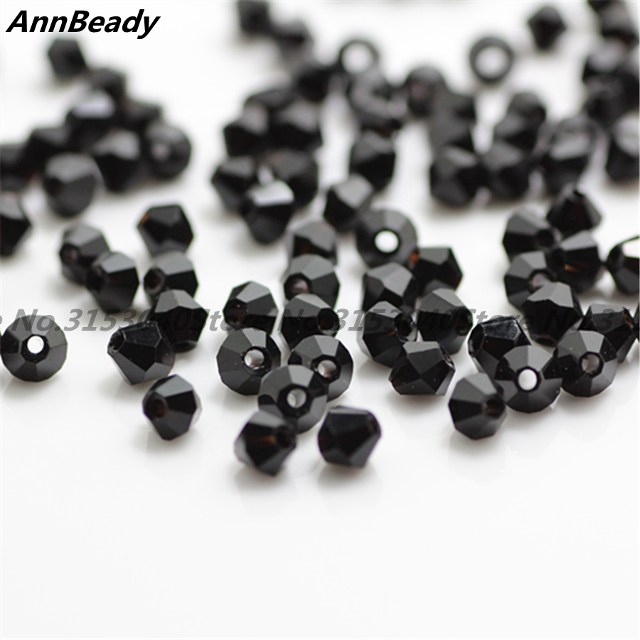 100pcs Black Color 4mm Bicone Crystal Beads Glass Beads Loose Spacer Beads DIY Jewelry Making Austria