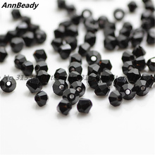 100pcs Black Color 4mm Bicone Crystal Beads Glass Beads Loose Spacer Beads DIY Jewelry Making Austria Crystal Beads