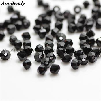 100szt czarny kolor 4mm bicone kryształowe koraliki szklane koraliki luźne spacer koraliki DIY Biżuteria Making Austria kryształowe koraliki tanie i dobre opinie Beads Moda Crystal 6151 AnnBeady