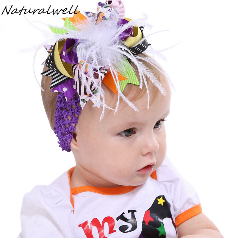 Naturalwell Halloween costume newborn Girls headbands Kids fashion hair bow cute holiday children headband Ribbon bows HB194D