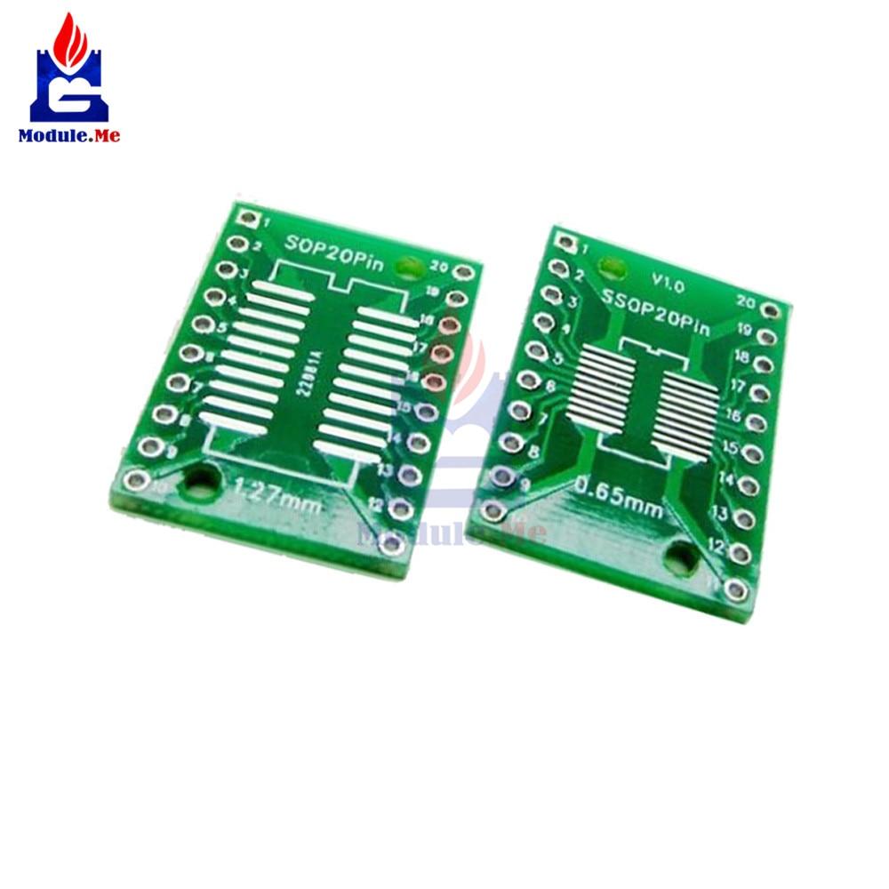 100PCS SOP20 SSOP20 TSSOP20 To DIP20 0.65//1.27mm IC Adapter PCB Board