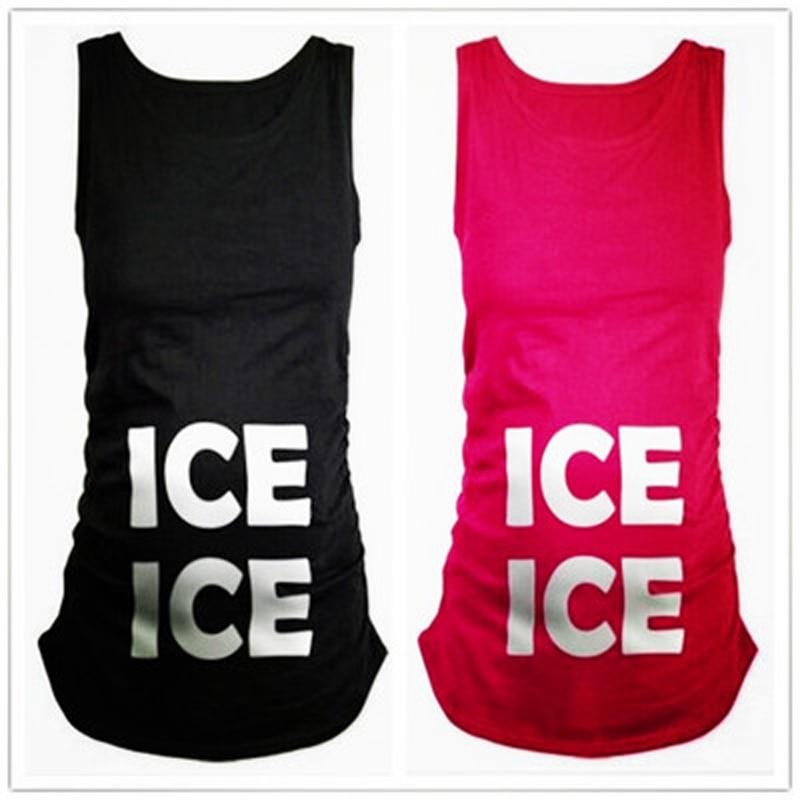2018 Fashion Pregnant Maternity ICE Printing Sleeveless T Shirts Pregnancy Maternity Clothes Funny Shirts Camiseta Maternidad