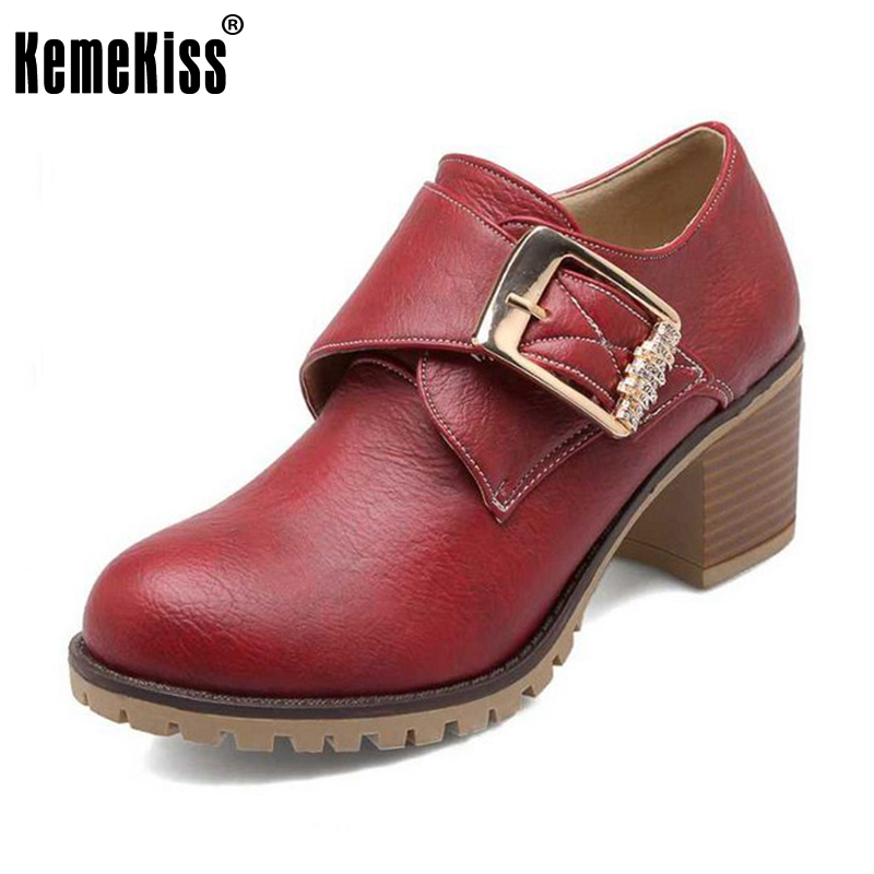 KemeKiss Women Pumps Roman Style Chunky Med High Heel Buckle Up Wedding Casual Spring Autumn Shoes Round Toe Platform Pumps34-43 kemekiss size 33 42 women s high heel wedge shoes women cross strap platform pumps round toe casual mixed color ladies footwear