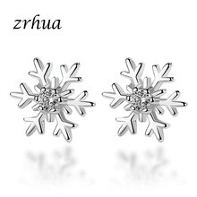 ZRHUA 925 Sterling Silver Earrings Jewelry Fashion Tiny CZ Pave Crystal Heart Stud Earrings Gift For Women Girls Kids Lady Gifts(China)