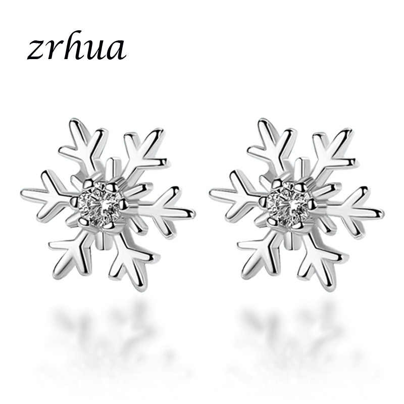 ZRHUA 925 Sterling Silver Earrings Jewelry Fashion Tiny CZ Pave Crystal Heart Stud Earrings Gift For Women Girls Kids Lady Gifts