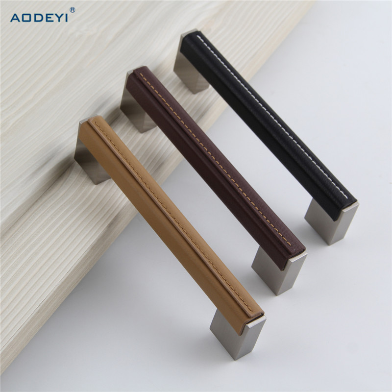 Leather Furniture Handles Drawer Cabinet Knobs Kitchen Door Handle Cupboard Wardrobe Pull Handles Furniture Fittings hot brown handle single hole leather door handles cabinet cupboard drawer pull knobs furniture kitchen accessories 96 160 192mm