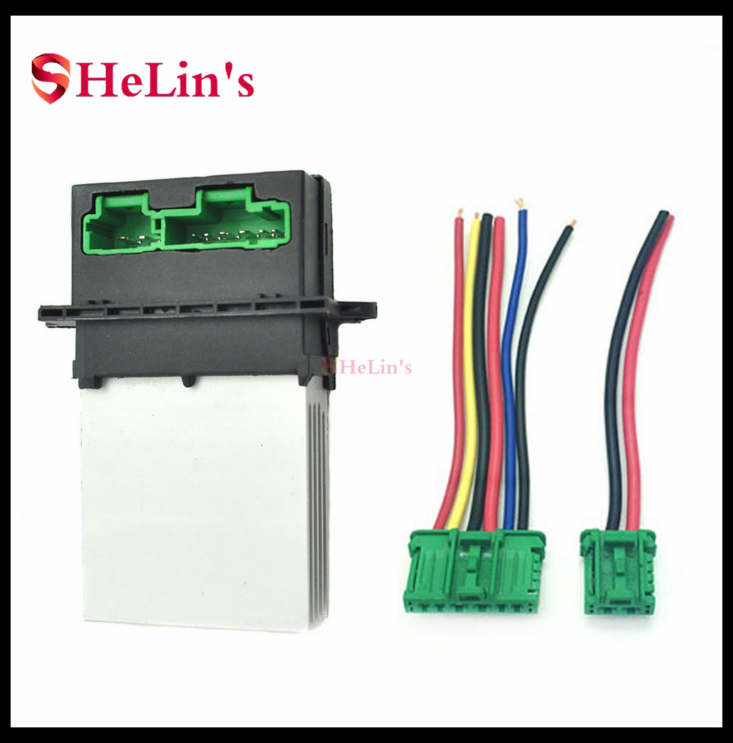 Heater Motor Blower Fan Resistor with Wiring Plug Harness for 6441L2 Blower Motor Resistor