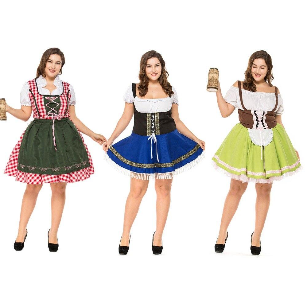 Tedesco Austriaco Bavarese Tradizionale Dirndl Oktoberfest Birra Cameriera Costume di Halloween del Vestito Operato Sexy Cosplay Più Il formato 3XL
