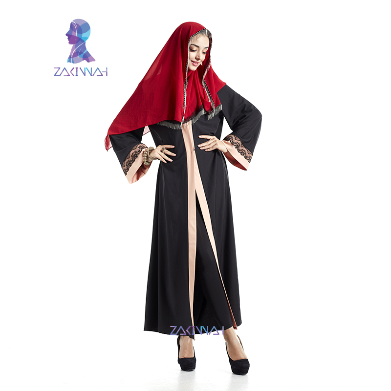Haute Qualité Dentelle Noire Abaya Robe Musulmane Pour Femmes - Vêtements nationaux - Photo 4