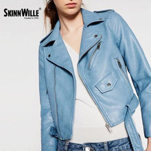 SkinnWille 2017 Locomotive Leather Female New Paragraphs Spring Loaded Short PU Leather Coat Jacket