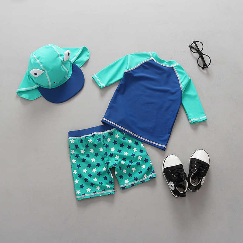ملابس سباحة للأطفال UV محمية طويلة الأكمام ثوب السباحة جميل الضفدع طباعة قطعتين قبعة الفتيان ملابس السباحة الاطفال ملابس السباحة