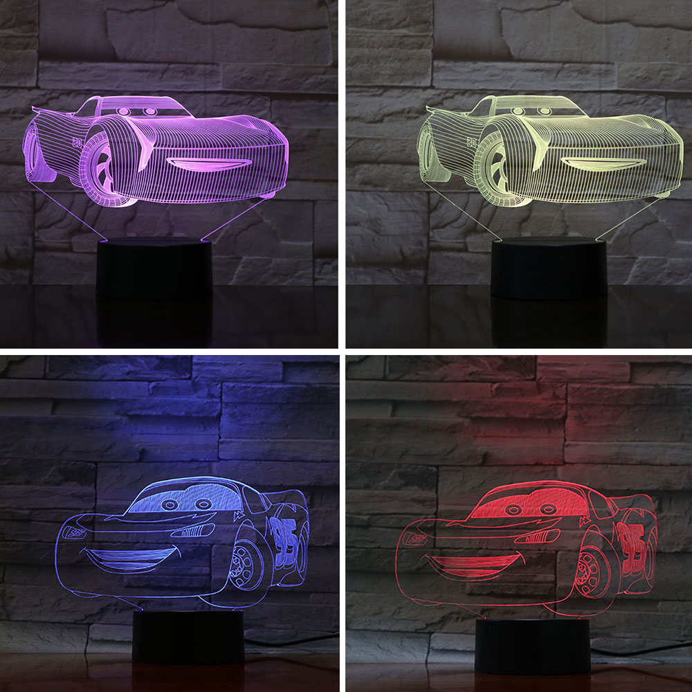 Cartoon 3D Night Light Cars 3 Ramonp Lightning McQueen Children Night Lamp Color Changed Acrylic Table Lamp Gifts For Kids