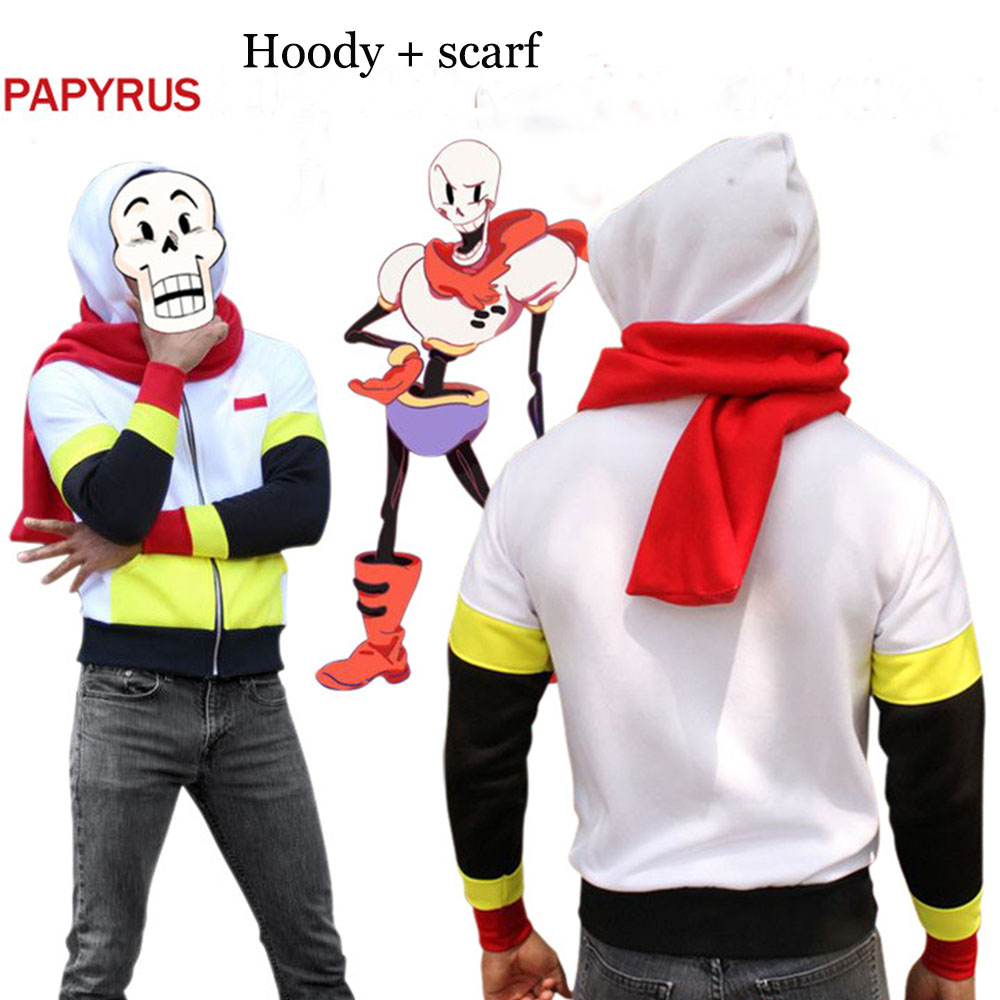 New Game Undertale Costume Anime Papyrus Skeleton Brother Hoody hoodies and Scarf Unisex Zipper Jacket Muffler