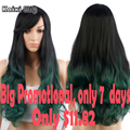 28'' Long Ombre Green Wig Synthetic Curly Wigs For Black Women Natural Cheap Hair Wig Cosplay Long Ombre Purple Cosplay Wig