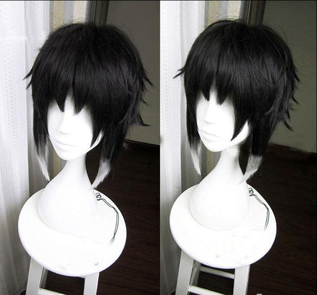 Bungo Stray Dogs Ryuunosuke Ryunosuke Akutagawa Wigs Black White Heat Resistant Syntehtic Hair Cosplay Wig