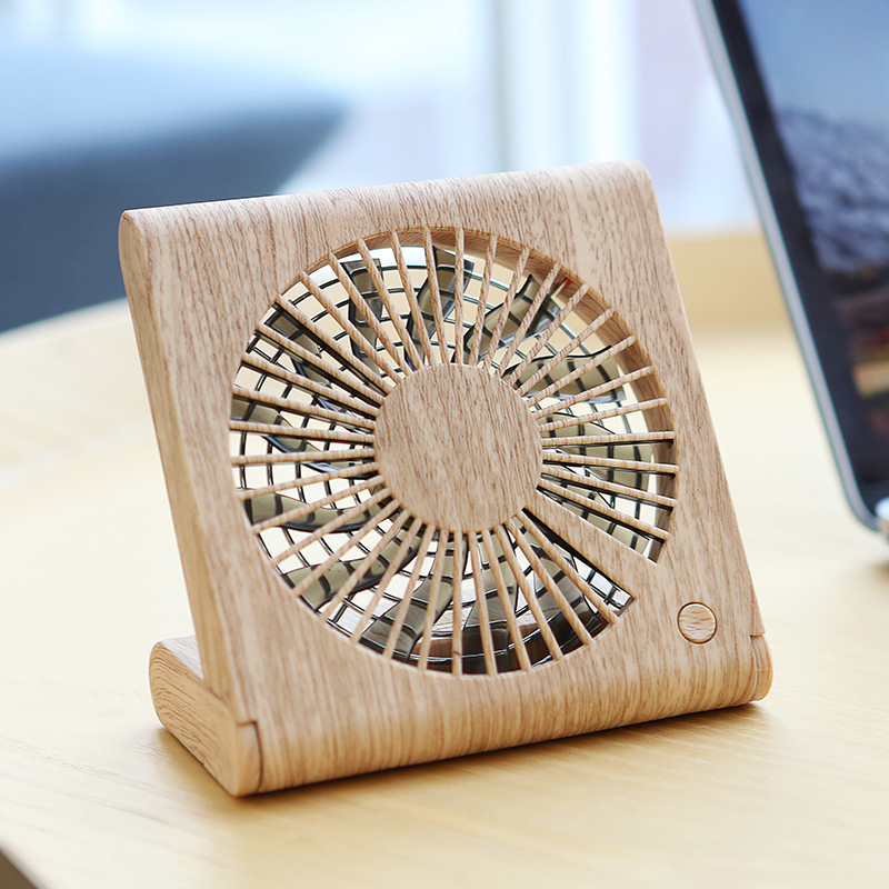 Wood Grain Desk Fans Rechargeable Usb Mini Quiet Fan Speed Controlled 3 Gear Adjust ABS Flabellum 5 Hours Charging