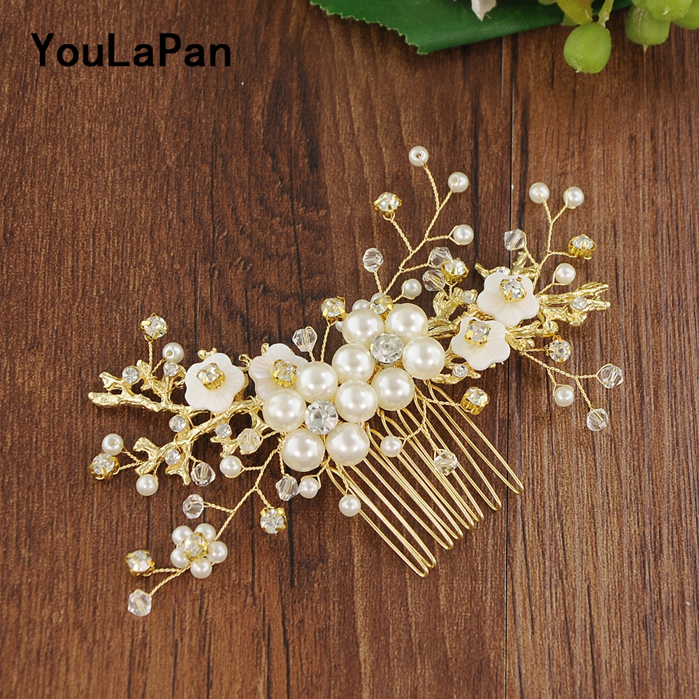 YouLaPan Golden Bridal Tiara Bridal Wedding Hair Accessories Pearl Wedding Combs Wedding Hair Jewelry Bridal Hair Clip HP168
