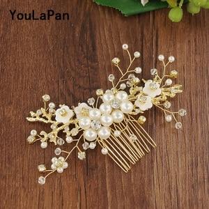 YouLaPan HP168 Bridal Tiara Bridal Wedding Hair Accessories Pearl Wedding Combs Wedding Hair Jewelry Bridal Hair Comb(China)