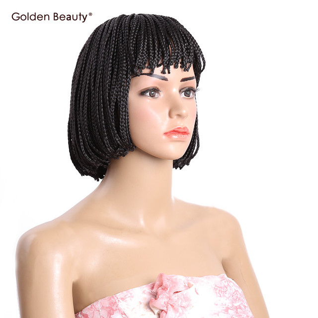10 12inch Braided Box Braid Wig Heat Resistant Synthetic With Bangs Short Bob Wigs