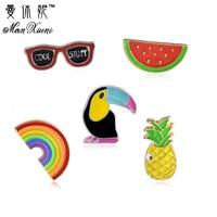 Manxiuni 5pcs/set Toucan rainbow watermelon sunglasses pineapple Brooch Denim Jacket Pin Buckle Shirt Badge Gift For Friend