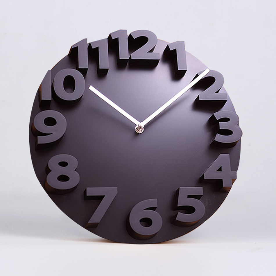 14 inches minimalist creative clock living room 3d stereo digital decorative wall clock modern design new