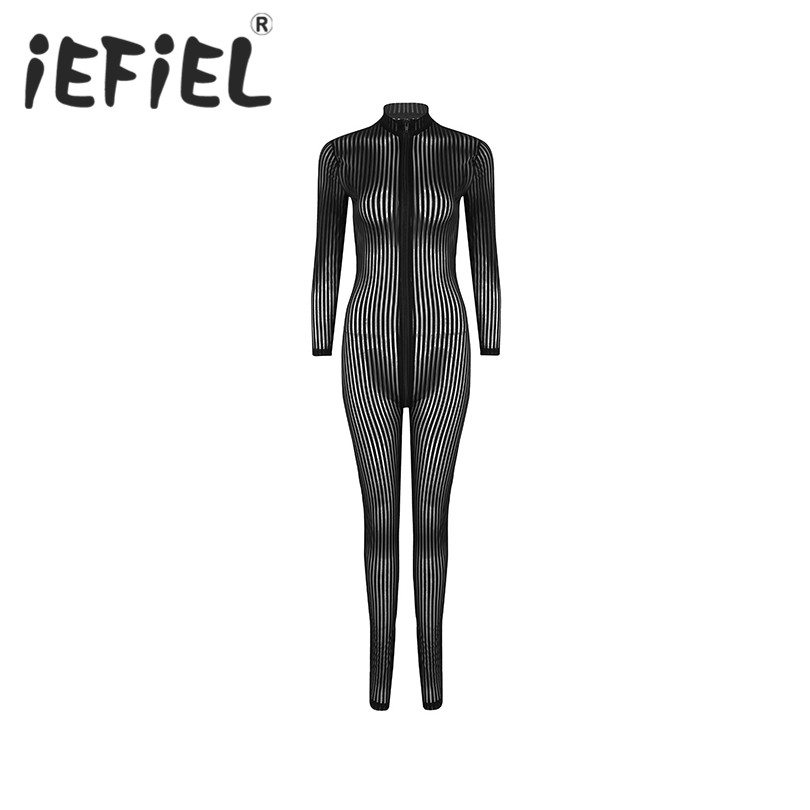 Sexy Women Striped Lingerie Long Sleeves Double Zipper Sheer Smooth Open Crotch Catsuit Bodysuit Nightwear Clubwear Underwear