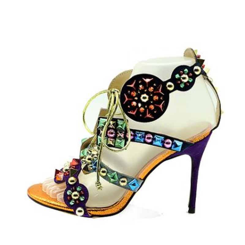 Bohemia sandalias mujer 2018 New fashion colorful rivets high heel sandals punk style lace up sexy open toe party shoes woman 2018 new punk gothic genuine leather women lace up botas sandals lace up open toes sexy lady high heels club party dancing shoes