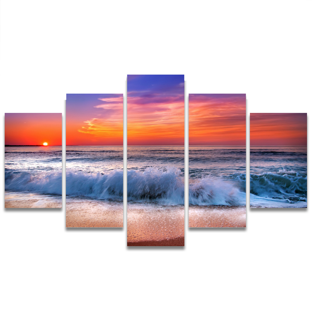 Unframed HD Canvas Painting Prints Waves Sunset Colorful Clouds Picture Prints Wall Picture For Living Room Wall Art Decoration