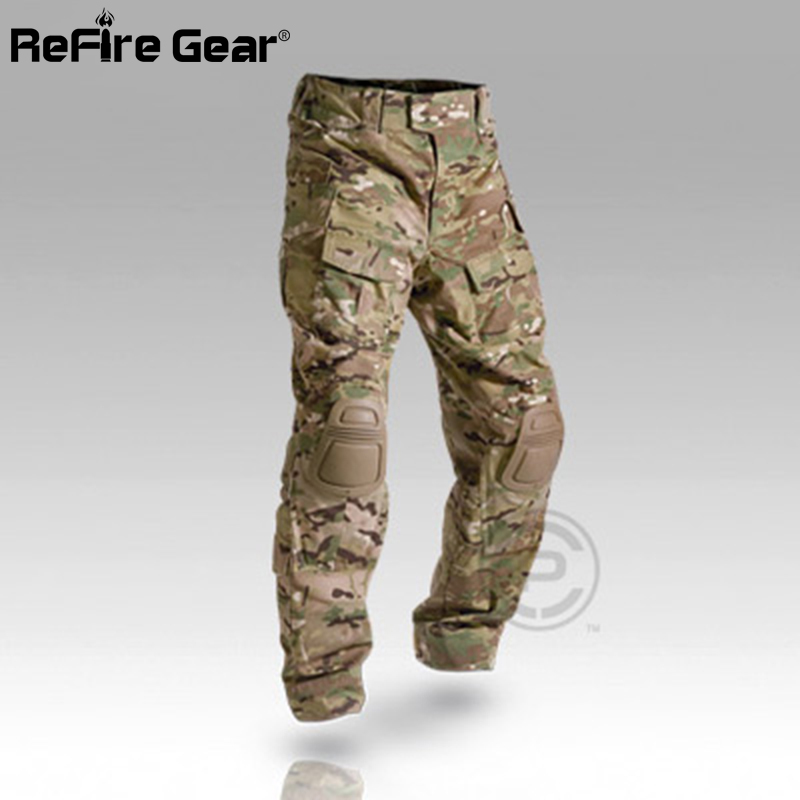 Multicam Camouflage Militar Tactical Pants Army Military Uniform Trouser ACU Airsoft Paintball Combat Cargo Pants With Knee Pads(China)