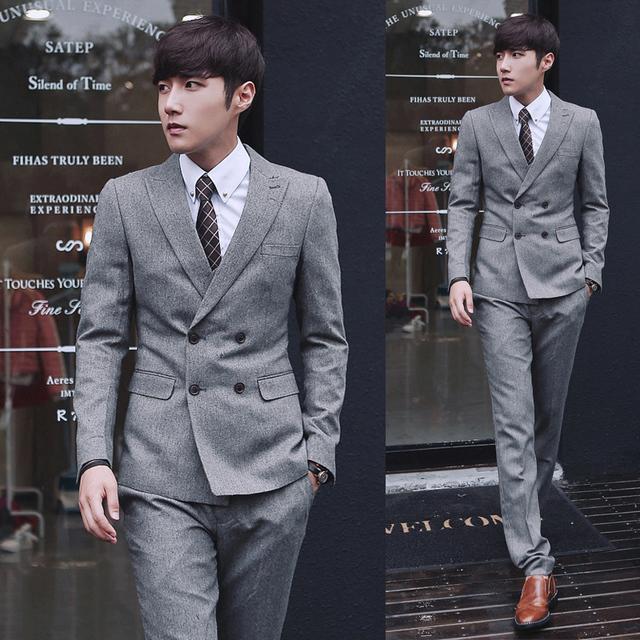 2015 chegada nova ternos de vestido de casamento terno de negócio dos homens estilo Britânico de Slim Custom Fit Tuxedo ternos Casuais para homens