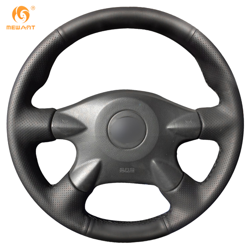 Black Artificial Leather Car Steering Wheel Cover for Nissan Almera N16 Pathfinder Primera XTrail 2001-2006 Renault Samsung SM3