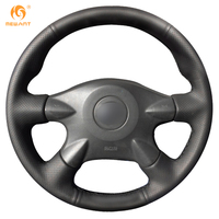 Black Leather Steering Wheel Cover For Nissan Almera N16 Pathfinder Primera Paladin