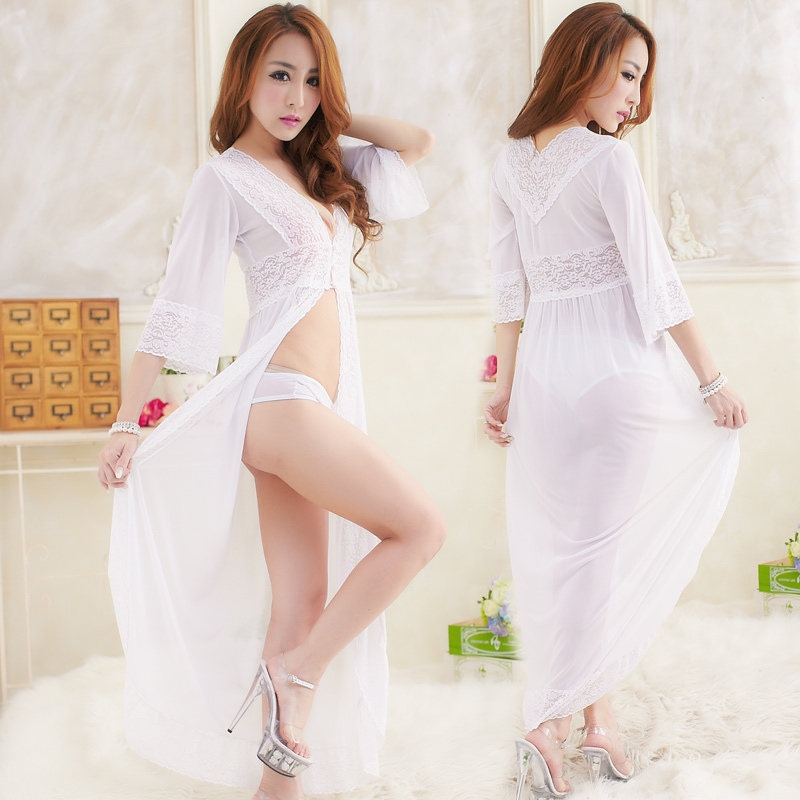 Women Sexy Hot White Long Lace Robe Nightgown Bridal Dress Lingerie Nightwear Clothes Set Babydolls T