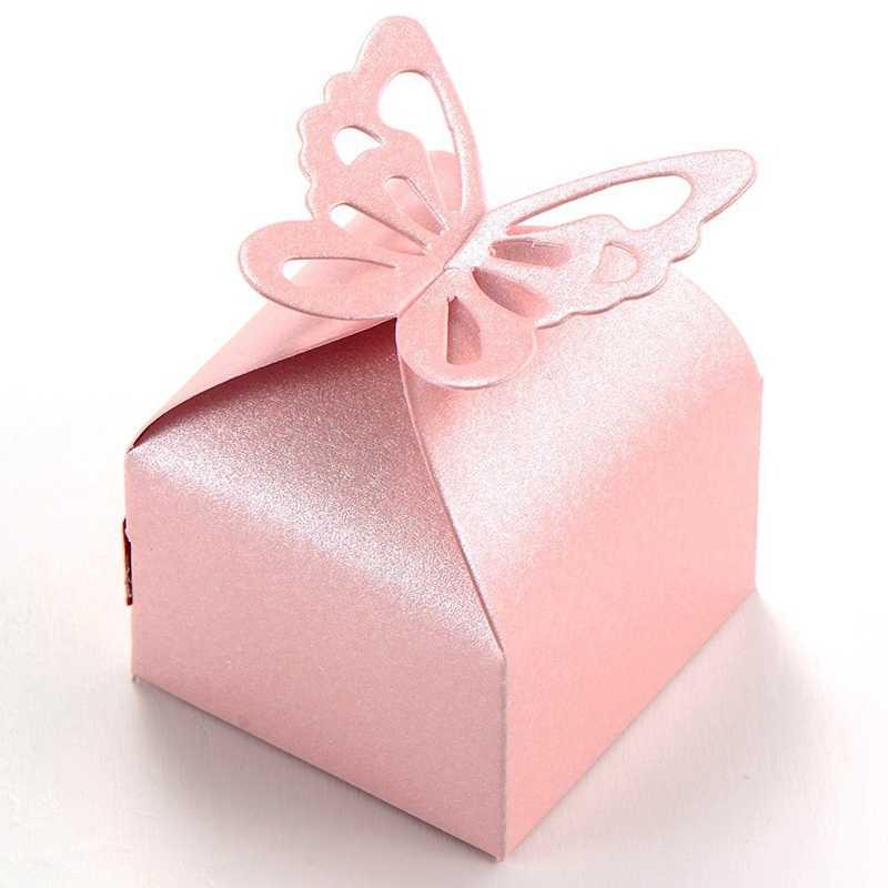 TOP!-50 pcs Borboleta Decoração Boite a Decoração de Casamento Batismo Drageias Nascimento Rosa