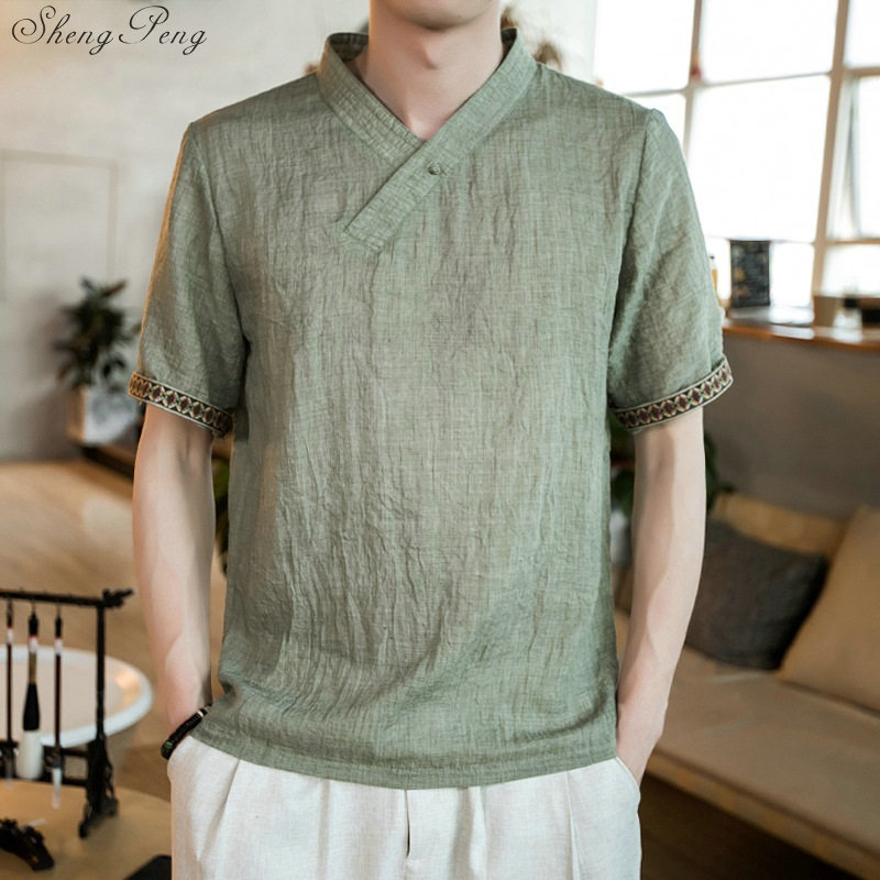 Linen shirts men Traditional chinese clothing store traditional chinese clothing for men chinese traditional men clothing V1625 image