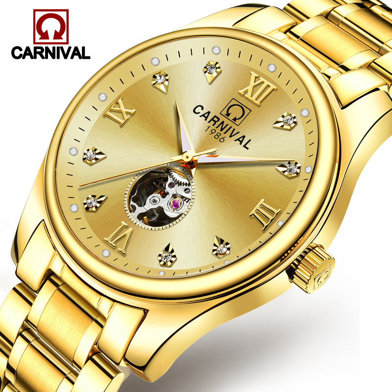 Carnival Luxury Automatic Mechanical Watch Men Skeleton Full Gold Steel Clock Waterproof Luminous Mens Watches relogio masculino carnival automatic mechanical men s watches luxury waterproof watch full steel wristwatch relogio masculino luminous calendar