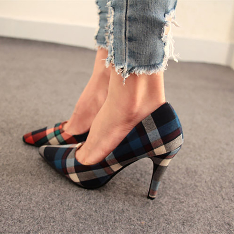 Sale Womens Striped Plaid Pointed Toe Stiletto High Heels Party Shoes Blue  Pumps Orange China Shoes Size 36 2015 Size 35 40 7633-in Women s Pumps from  Shoes ... 8fdabbcb7052