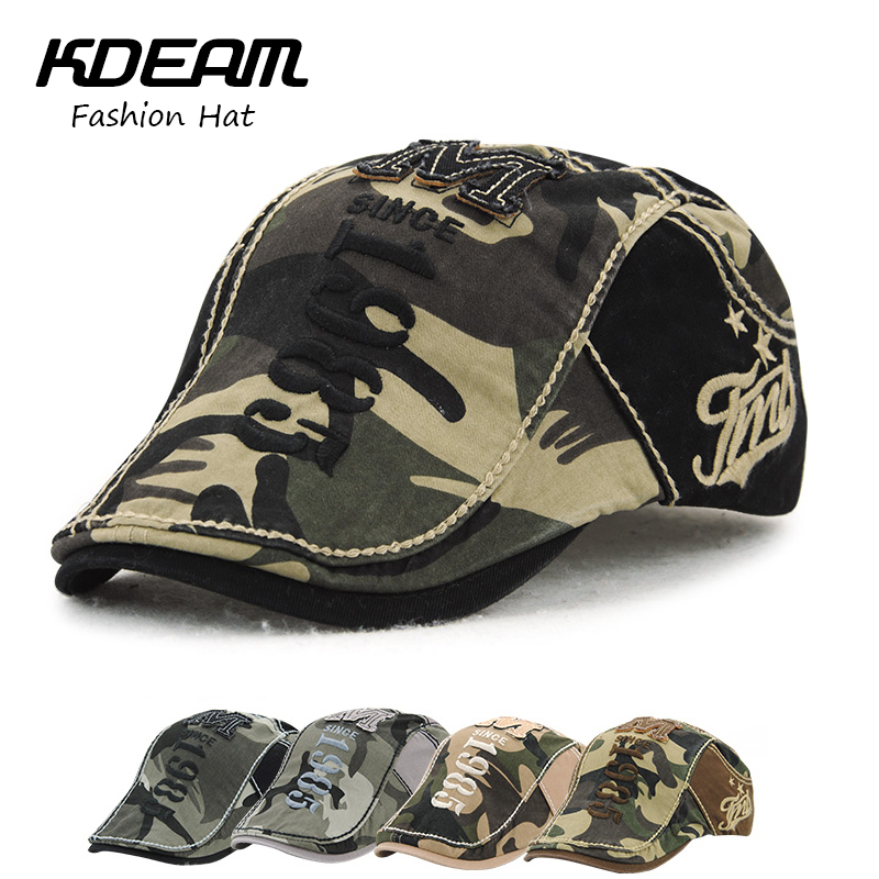 KDEAM camouflage Berets Cap Women Summer Outdoor Breathable Hats Solid Sun Hat Flat Cotton Newsboy Adjustable Caps for Men 09421
