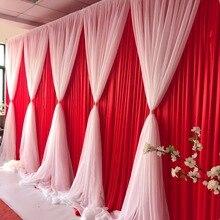 3 м* 6 м шелк льда свадебный фон с белым Volie балдахин двойной слой Роскошная Свадебная драпировка индивидуальный цвет