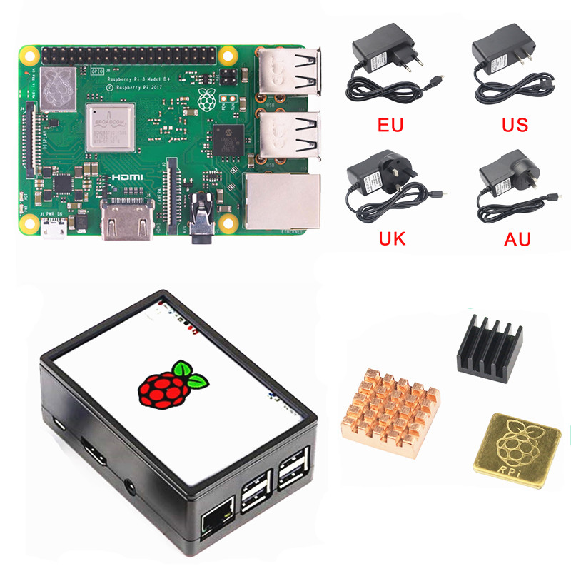 New Raspberry Pi 3 B+ (B Plus) LCD Display Kit Quad Core 1.4GHz 64 bit CPU With 3.5 inch Display Case Power Adapter Heat sink